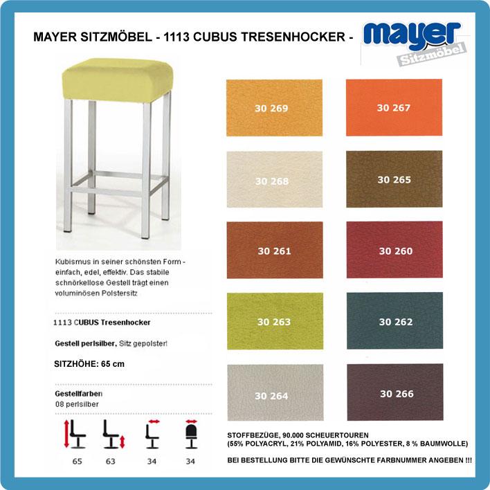 mayer barhocker tresenhocker cubus 1113 sitzh he 65cm ebay. Black Bedroom Furniture Sets. Home Design Ideas